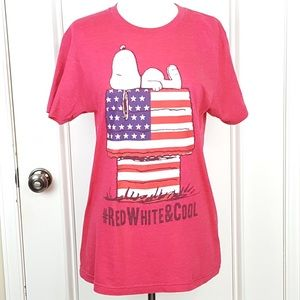 Peanuts | Faded Red Snoopy American Flag T Shirt